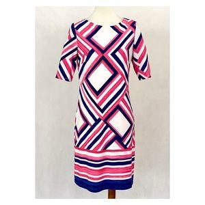 Eliza J. Geometric Pattern Jersey Knit Shift Dress